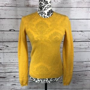 Tahari 100% Cashmere Pure Luxe Knit Sweater Yellow